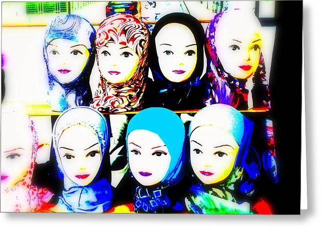 Veiled Digital Greeting Cards - Head Scarfs for sale in Lyon Greeting Card by Funkpix Photo Hunter