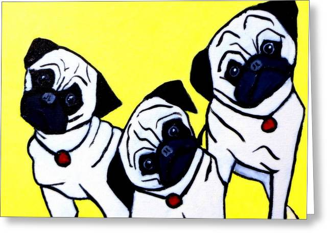 Puppies Paintings Greeting Cards - Head Tilt 3 Pug Puppies Greeting Card by Katy Hawk