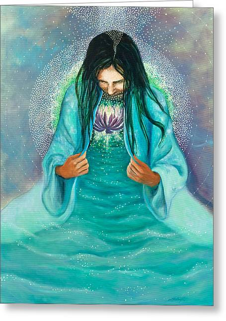 Crown Chakra Greeting Cards - Head to Heart Greeting Card by Joyce Huntington