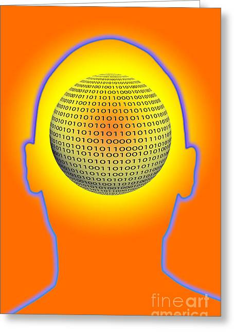 Algorithmic Abstract Greeting Cards - Head With Binary Numbers Greeting Card by George Mattei