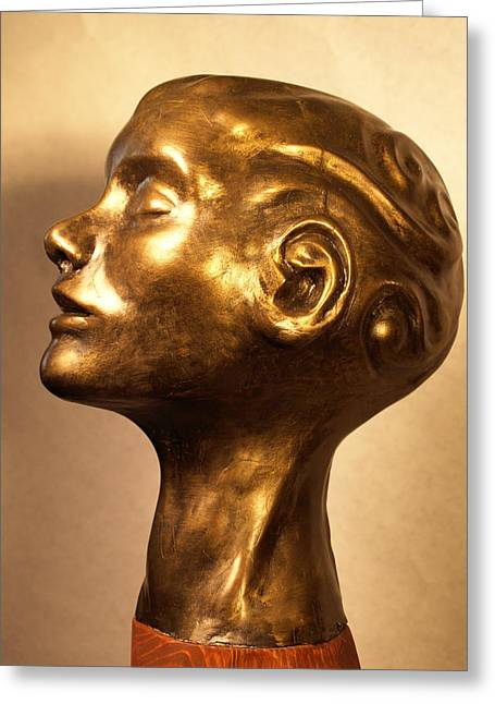 Figurative Sculptures Greeting Cards - Head with swirls view 1 Greeting Card by Katherine Howard