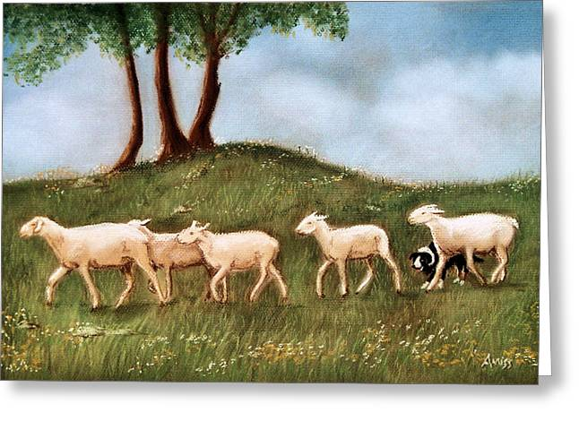Collie Pastels Greeting Cards - Headed home Greeting Card by Jan Amiss
