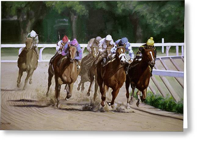 Jockey Greeting Cards - Heading for Home Greeting Card by Linda Tenukas
