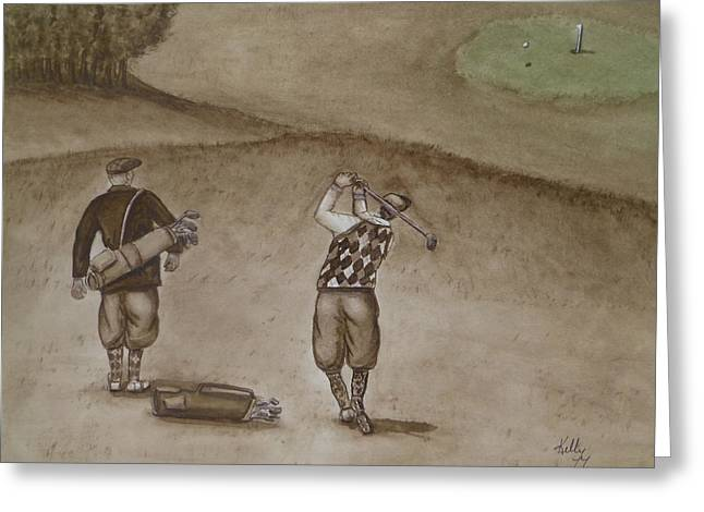 Golf Greeting Cards - Heading for the Green ... Vintage Golfing Greeting Card by Kelly Mills