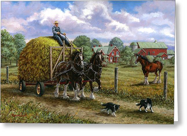 Haying Greeting Cards - Heading for the Loft Greeting Card by Richard De Wolfe