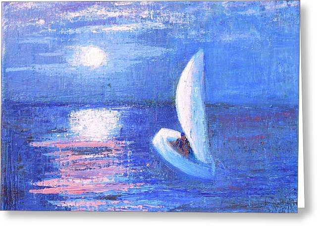 Moonrise Greeting Cards - Heading Home Under The Moonlit Sky Greeting Card by Marla McPherson