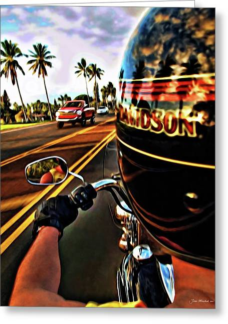 Heading Out On Harley Greeting Card by Joan  Minchak