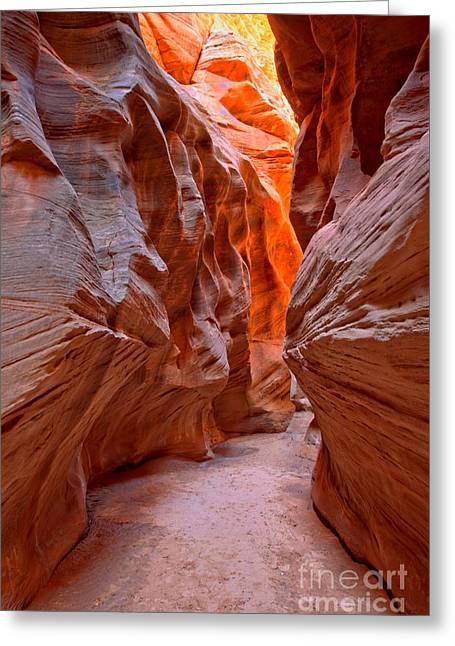 Utah Slot Canyon Greeting Cards - Heading Toward The Light Greeting Card by Adam Jewell
