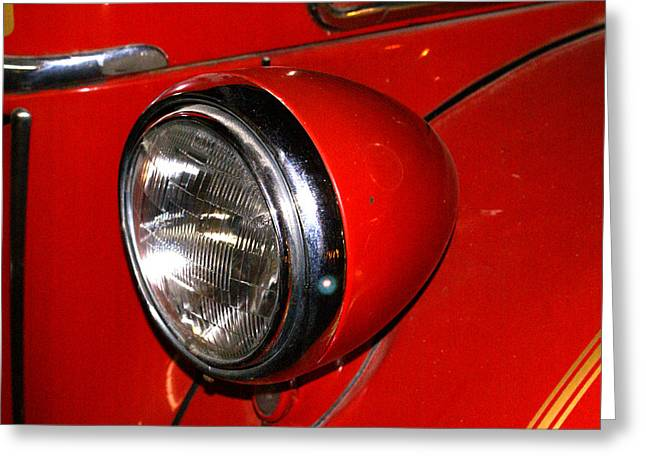 Headlamp On Antique Fire Engine Greeting Card by Douglas Barnett