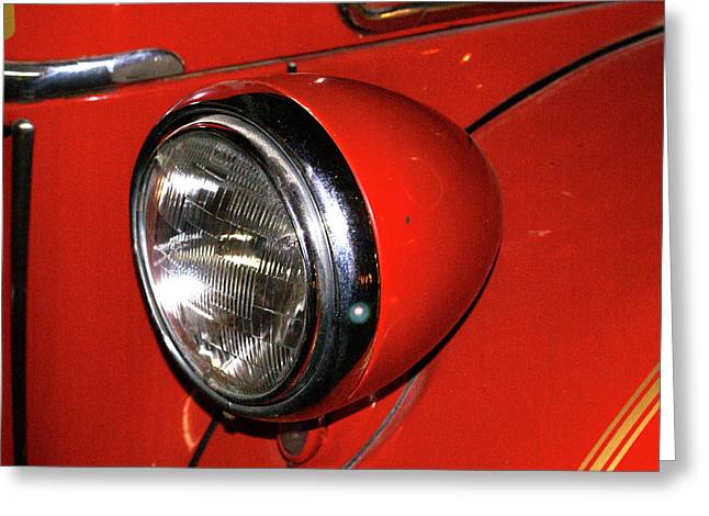Headlamp on Red Firetruck Greeting Card by Douglas Barnett