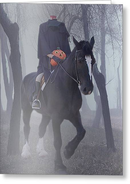 Sleepy Greeting Cards - Headless Horseman Greeting Card by Christine Till