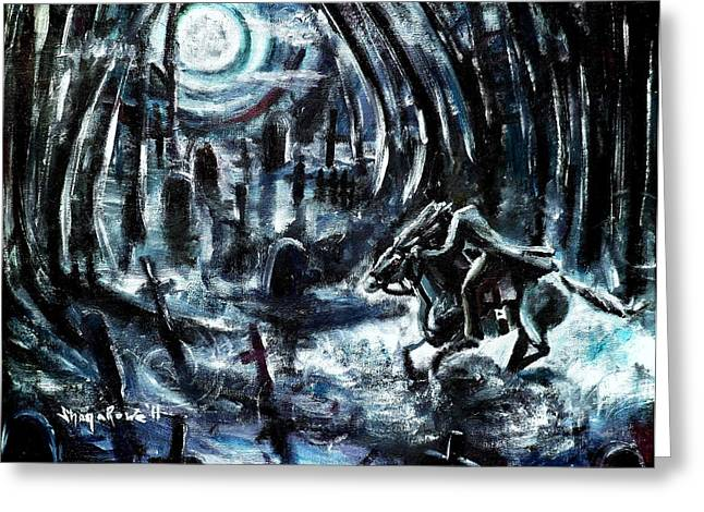 Cemetary Paintings Greeting Cards - Headless in the Hollow Greeting Card by Shana Rowe