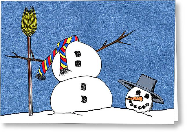Christmas Greeting Greeting Cards - Headless Snowman Greeting Card by Nancy Mueller