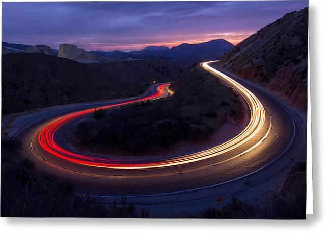 Headlight Photographs Greeting Cards - Headlights And Brake Lights Greeting Card by Karl Klingebiel