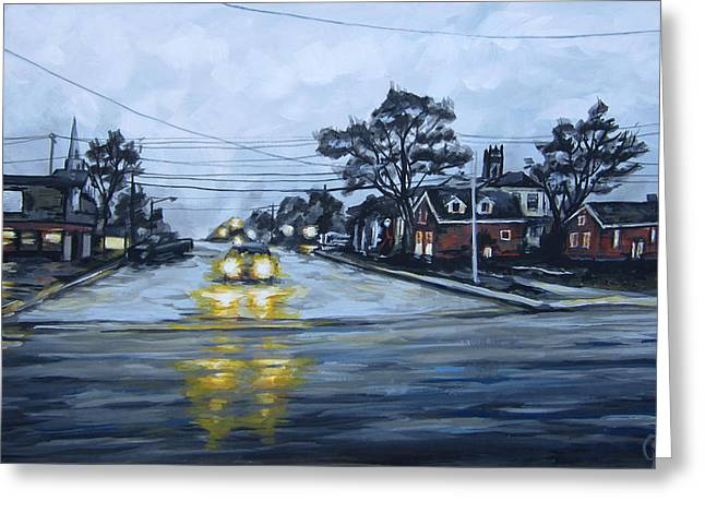 Headlight Paintings Greeting Cards - Headlights Greeting Card by Angie Mendoza
