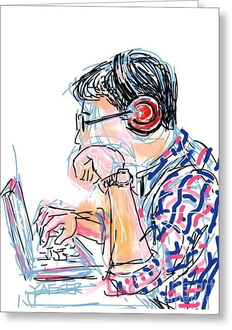 Youthful Greeting Cards - Headphones and Laptop Greeting Card by Robert Yaeger