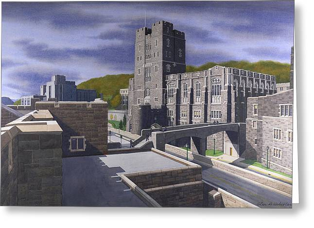 Upstate Paintings Greeting Cards - Headquarters Tower West Point Greeting Card by Glen Heberling