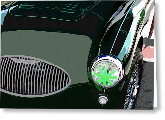 Recently Sold -  - Indy Car Greeting Cards - Healey 100S Reflections  Greeting Card by Curt Johnson