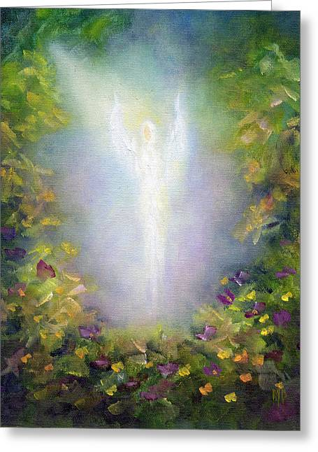 Angel work Paintings Greeting Cards - Healing Angel Greeting Card by Marina Petro