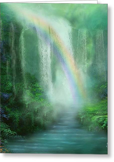 Energy Mixed Media Greeting Cards - Healing Grotto Greeting Card by Carol Cavalaris