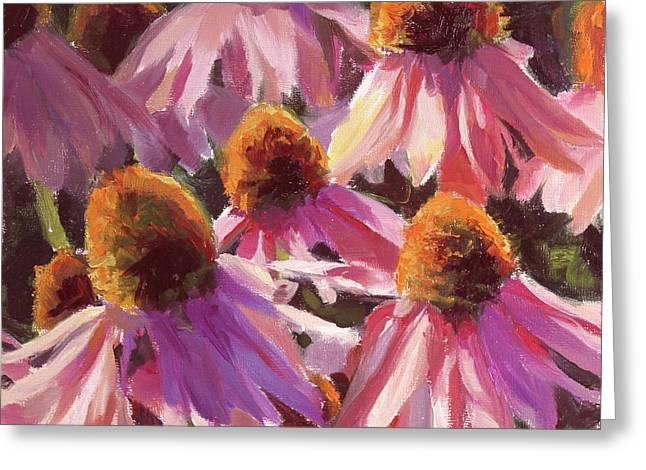 Healing Light Echinacea Cone Flowers Greeting Card by Karen Whitworth