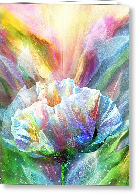 Healing Poppy With Butterflies Greeting Card by Carol Cavalaris
