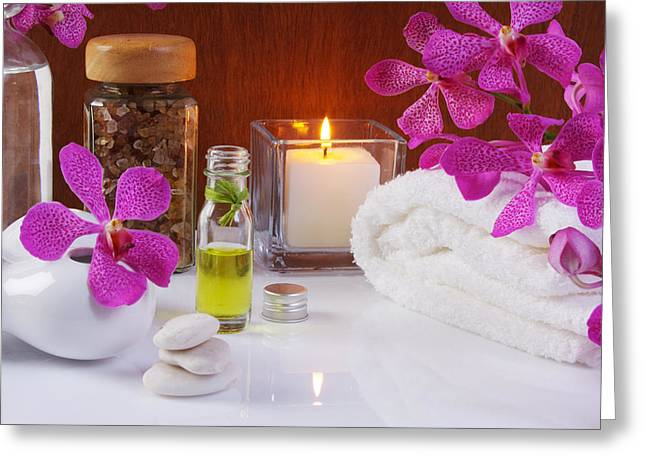 Burning Greeting Cards - Health Spa Concepts  Greeting Card by Atiketta Sangasaeng