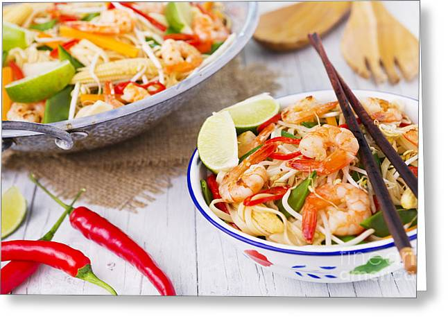 Stir-fry Greeting Cards - Healthy shrimp and vegetables stir-fry in a bowl Greeting Card by Sara Winter