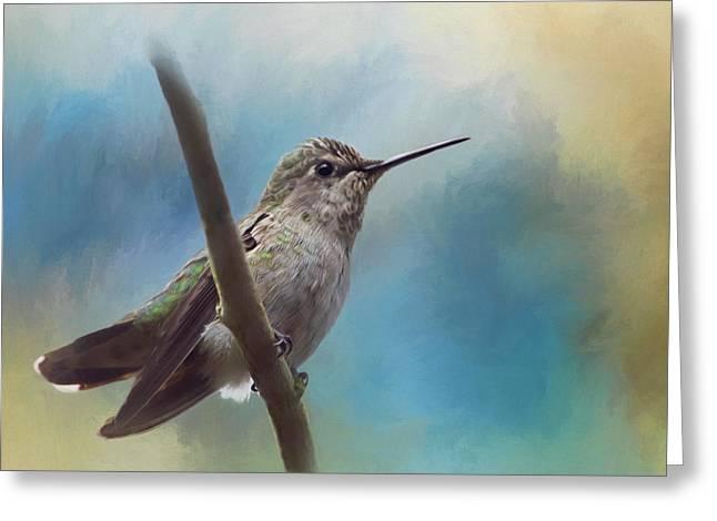 Gleaning Greeting Cards - Hear Her Song - Hummingbird Art Greeting Card by Jordan Blackstone