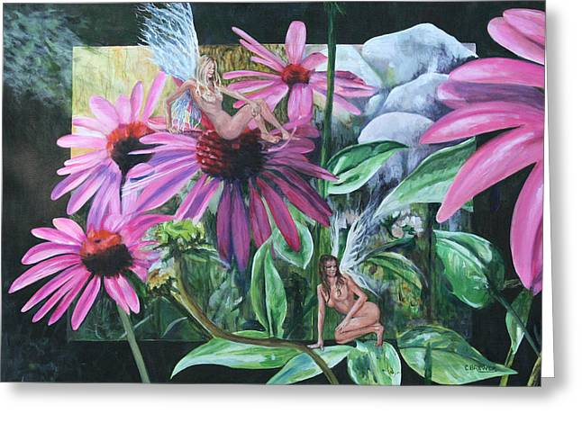 Brewer Paintings Greeting Cards - Heard a Noise Greeting Card by Cyndi Brewer