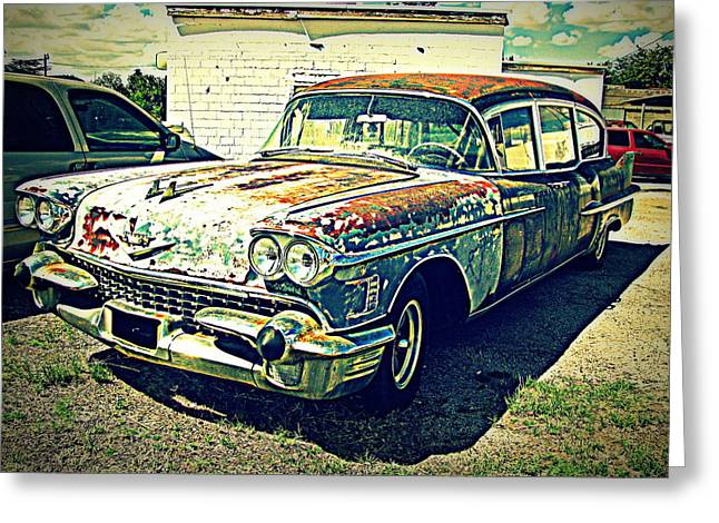Recently Sold -  - Rusted Cars Greeting Cards - Hearse Greeting Card by June Adler