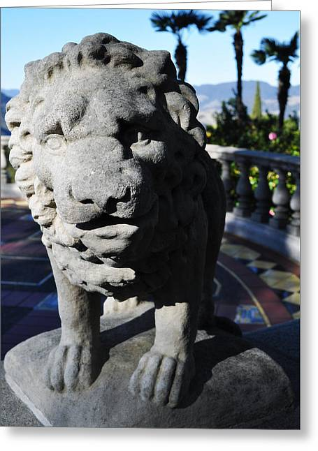 Coast Highway One Greeting Cards - Hearst Castle Lion Sculpture Greeting Card by Kyle Hanson
