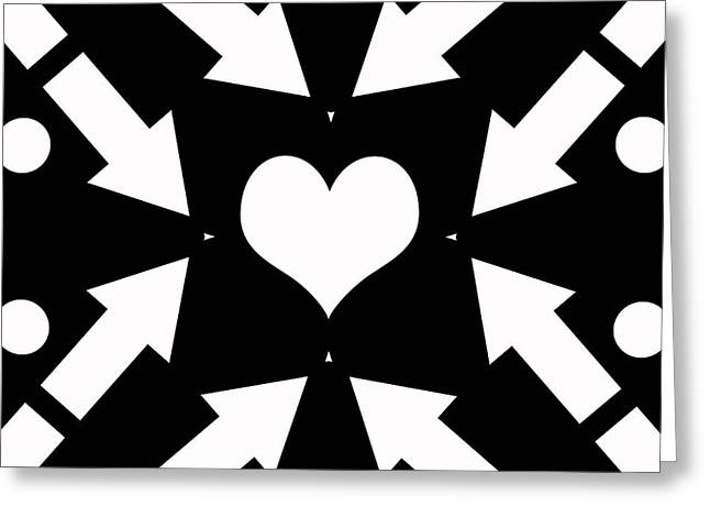 Geometrical Art Greeting Cards - Heart and Arrows Greeting Card by David G Paul