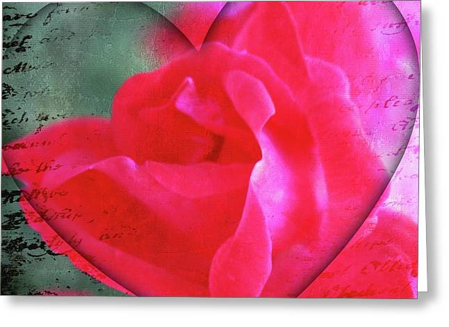 Rose Red City Greeting Cards - Heart and Rose Greeting Card by Cathie Tyler