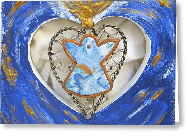 Acrylic Polymer Clay Greeting Cards - Heart Angel sparkling Greeting Card by Heidi Sieber