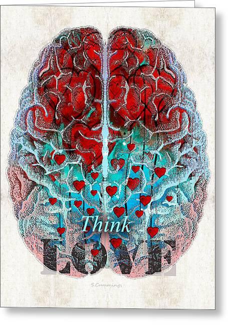 Heart Art - Think Love - By Sharon Cummings Greeting Card by Sharon Cummings
