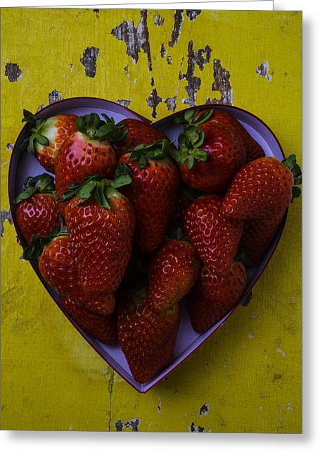 Sweetness Greeting Cards - Heart Box Full Of Strawberries Greeting Card by Garry Gay