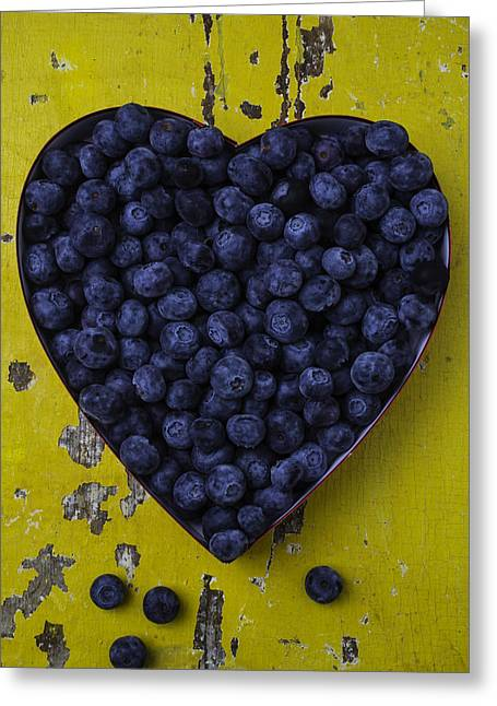 Heart Box With Blueberries Greeting Card by Garry Gay