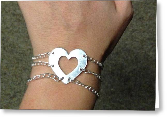 Sterling Silver Bracelet Jewelry Greeting Cards - Heart Bracelet Greeting Card by Sarah B