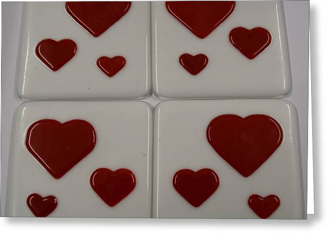 Valentine Glass Art Greeting Cards - Heart Coasters Greeting Card by Rosalind Duffy