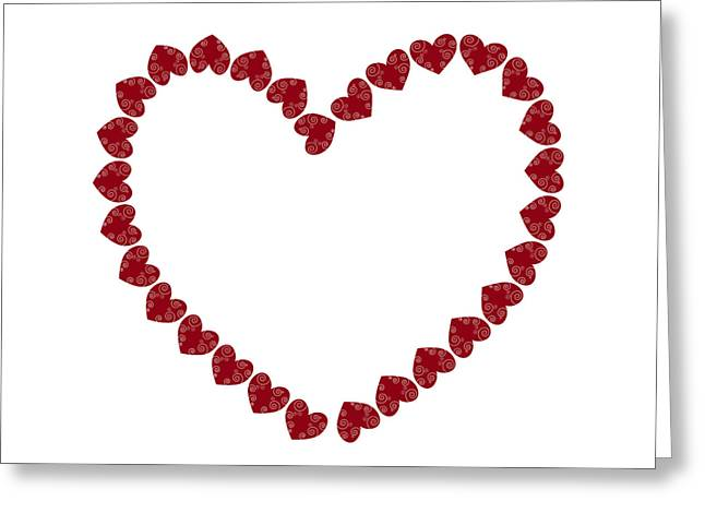 Ornament Drawings Greeting Cards - Heart from red hearts Greeting Card by Frank Tschakert