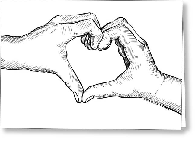Doodle Greeting Cards - Heart Hands Greeting Card by Karl Addison