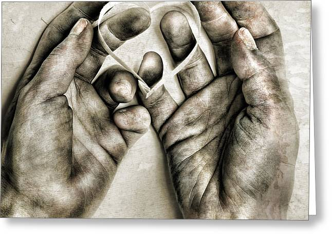 Hand Photographs Greeting Cards - Heart In Hands Greeting Card by HD Connelly