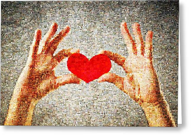 Finger Lakes Mixed Media Greeting Cards - Heart in hands Greeting Card by James Jones