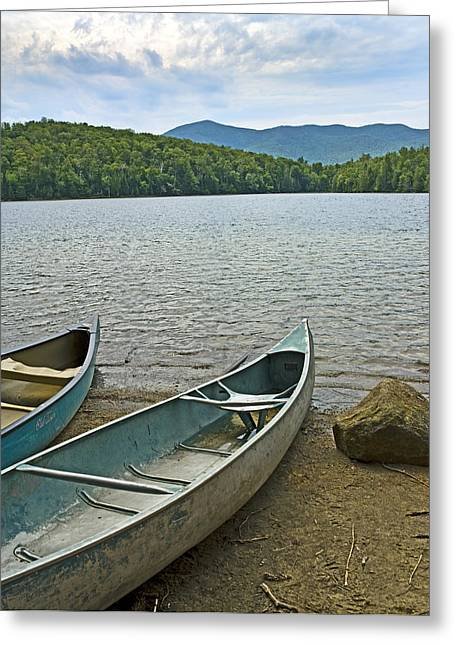 Adirondack Park Greeting Cards - Heart Lake Canoes in Adirondack Park New York Greeting Card by Brendan Reals