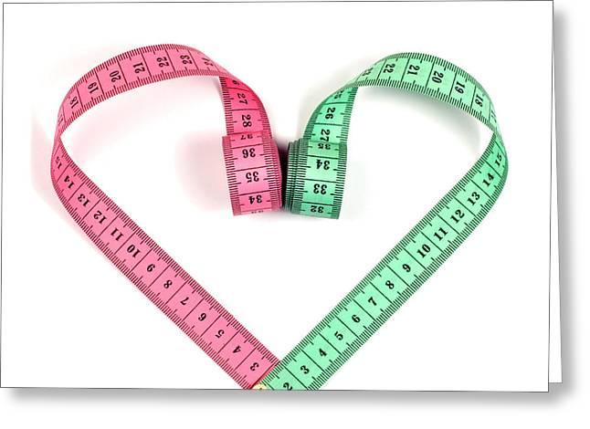 Heart Measuring Tape Greeting Card by Boyan Dimitrov