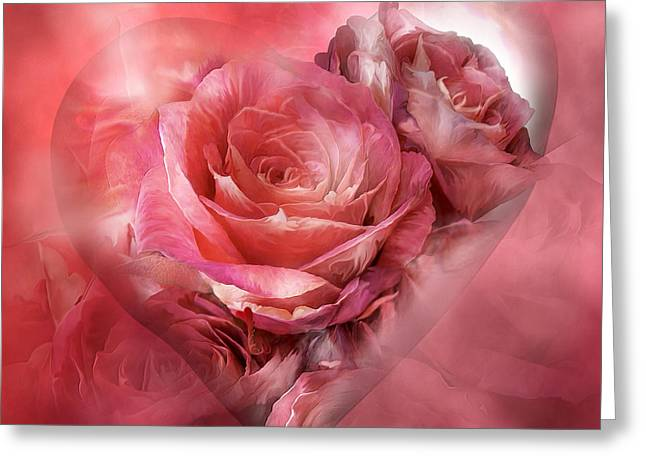Heart Of The Rose Greeting Cards - Heart Of A Rose - Melon Peach Greeting Card by Carol Cavalaris