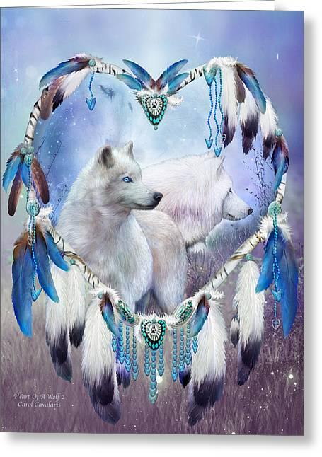 Spirit Guides Greeting Cards - Heart Of A Wolf 2 Greeting Card by Carol Cavalaris