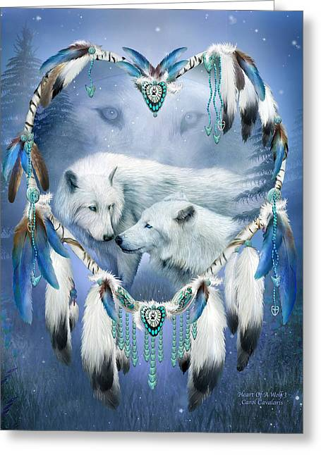 Spirit Catcher Greeting Cards - Heart Of A Wolf 3 Greeting Card by Carol Cavalaris