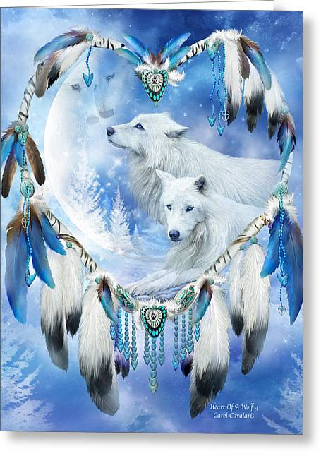 Dreamcatcher Greeting Cards - Heart Of A Wolf 4 Greeting Card by Carol Cavalaris